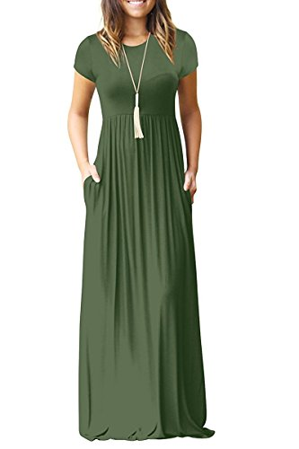 HAOMEILI Women's Short Sleeve Loose Plain Long Maxi Casual Dresses with Pockets S Army Green