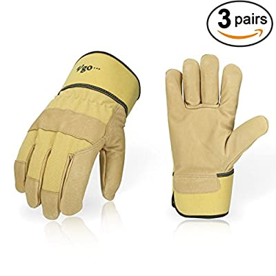 Vgo... Pigskin Leather Work Gloves with Safety Cuff, Brown Color (3 Pairs, Size 9/L)