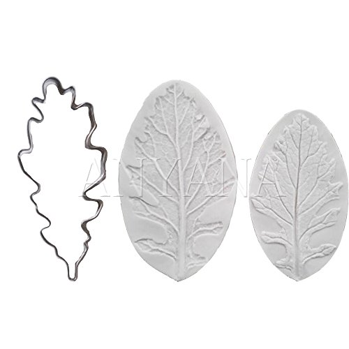 Anyana Oak Leaf Candy Silicone Mold for Sugarcraft, Cake Decoration, Cupcake Topper, Fondant, Jewelry, Polymer Clay, Crafting Projects, Non stick easy to use 2 in (Clay Oak Mold)