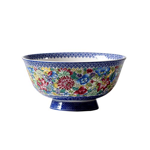 Antique Rice - ZH Retro Chinese style Noodle bowl Antique rice bowl Household Bone china tableware Anti-scalding High feet 5/6 inches A set of 2 (Size : 6 inches)