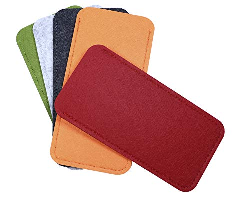 Shapenty 5 Colors Portable Felt Eyeglass Pouch Case Reading Glasses Bag Soft Slip In Sunglasses Holder Sleeve for Eye Glasses Protection and Travel Storage, 5PCS