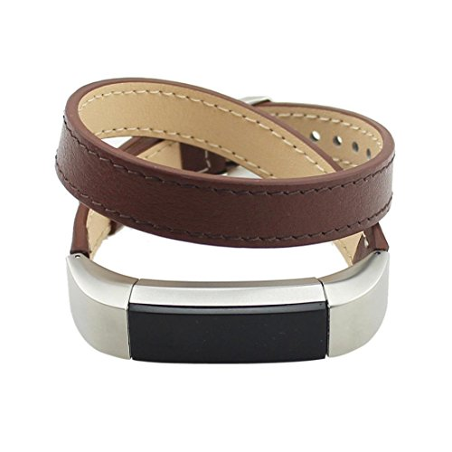 Peanutcool Double Tour Leather Watch Band Strap Bracelet For Fitbit Alta HR (Brown) by Peanutcool (Image #2)