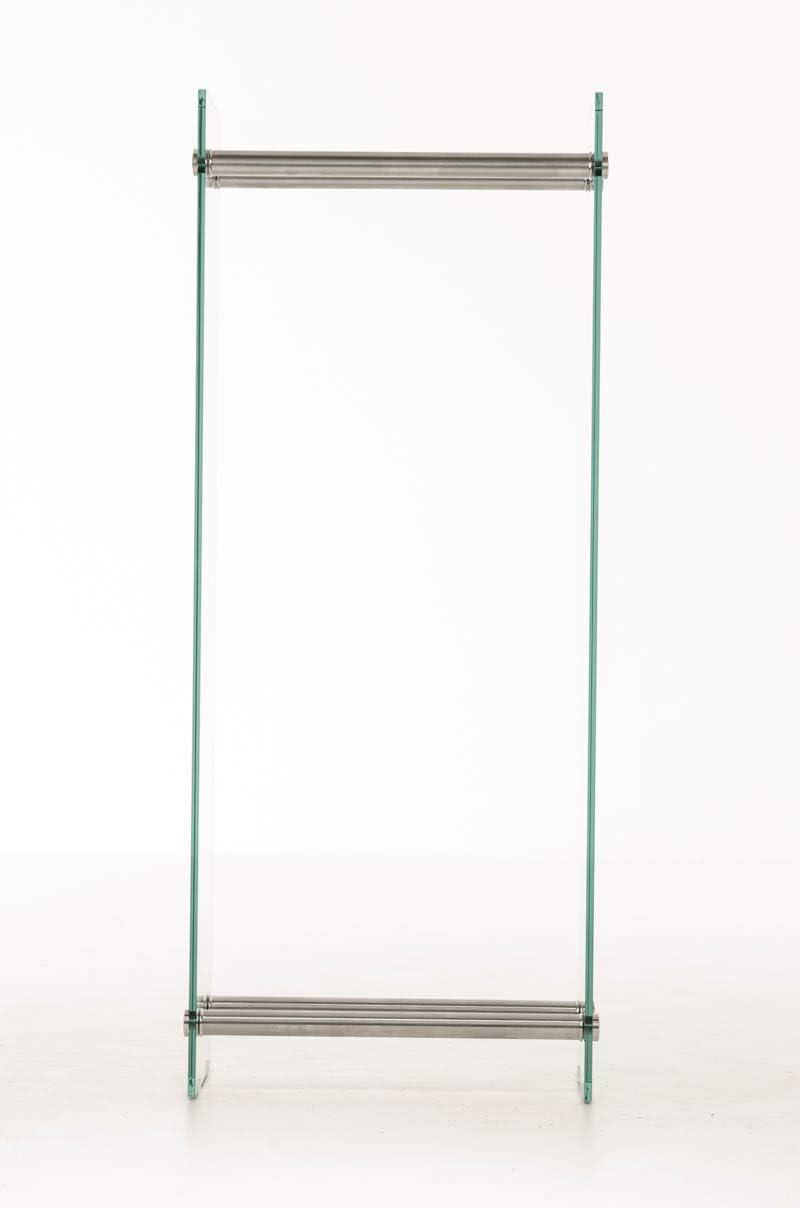 Farbe:Edelstahl CLP Kaminholzregal//Kaminholzst/änder Dacio aus Klarglas I stabile Konstruktion I Holzlager I modernes Glasregal mit Bodenschonern Gr/ö/ße:35x40x150 cm