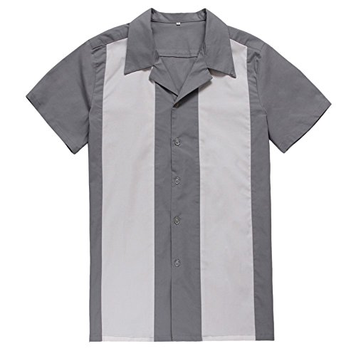 Male Clothing Rockabilly Style Casual Cotton Blouse Mens Fifties Bowling Dress Shirts (L, Gray) (Rockabilly Anchor)