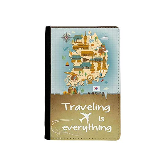 - Popular landmarks in South Korea Traveling quato Passport Holder Travel Wallet Cover Case Card Purse
