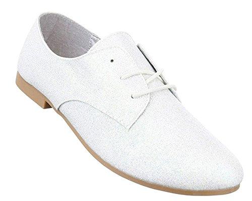 Damen Halbschuhe Schuhe Schnürer Elegant Schwarz Schwarz Rot Gold Silber Weiß 36 37 38 39 40 41 Silber