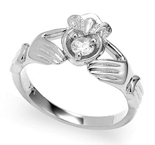 Diamond 10k White Gold Heart and Crown Claddagh Ring (Size 6.75)