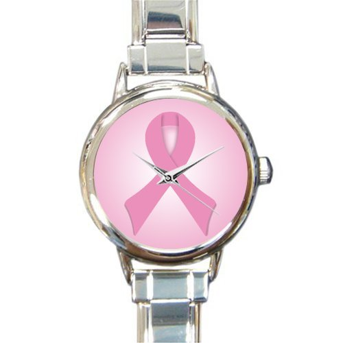 October Breast Cancer Month Pink Ribbon Round Italian Charm Watch