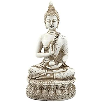 ornerx Thai Sitting Buddha Statue for Home Decor Ivory 6.7