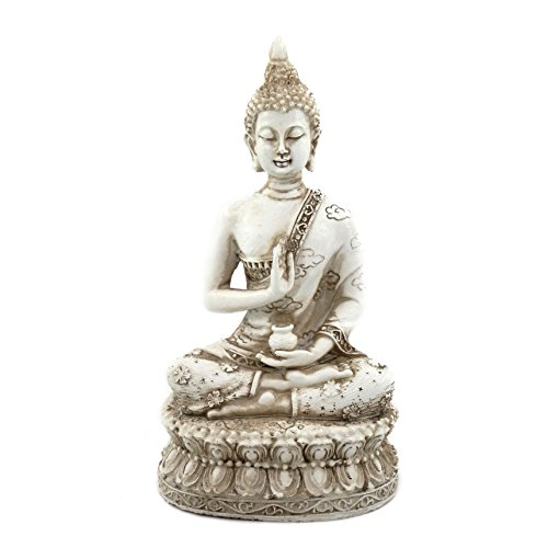 (ornerx Thai Sitting Buddha Statue for Home Decor Ivory 6.7