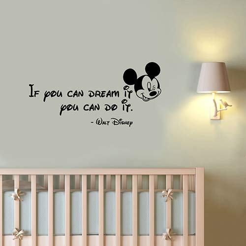 If You Can Dream It You Can Do It Inspirational Quote Vinyl Wall Sticker Motivational Saying Decal Mickey Mouse Head Art Decorations for Home Kids Living Room Bedroom Office Decor hq73 -