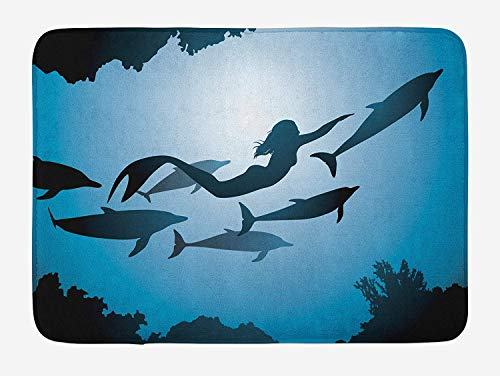 Mermaid Bath Mat, Cartoon Mermaid in Sea Sirens of Greek Myth Female Human with Tail of Fish Image, Plush Bathroom Decor Mat with Non Slip Backing, 23.6 W X 15.7 L Inches, Pink Blue
