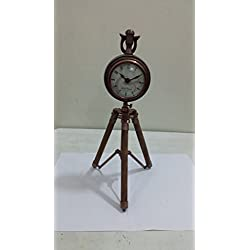 THORINSTRUMENTS (with device) NAUTICAL MARITIME ~ COPPER DESKTOP CLOCK WITH TRIPOD ~ SMALL TABLE CLOCK ~ WORKING CLOCK