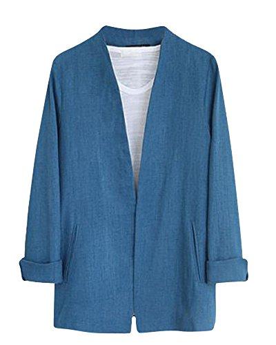 Femme Veste de Tailleur Casual Cardigant Slim V-Cou Blazer Costume Manche Longue Jacket Bleu