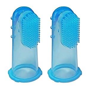 2 x Cepillo Dental de Dedo para Bebé de Silicona ~ Masajeador de Encías Niños (Azul) 4