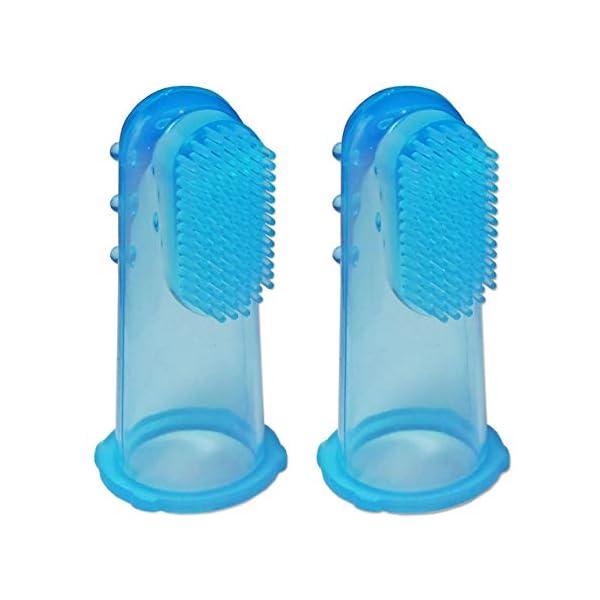 2 x Cepillo Dental de Dedo para Bebé de Silicona ~ Masajeador de Encías Niños (Azul) 2