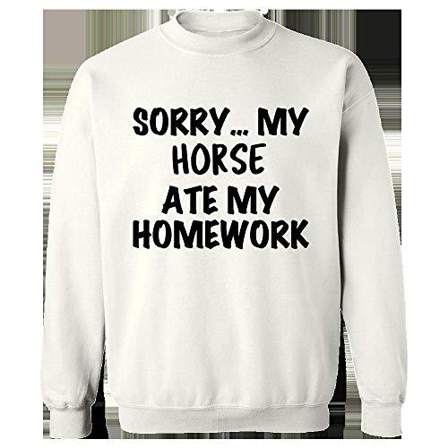 (Horse Ate My Homework - Farm Gift Idea - Funny Pony Theme - Equestrian - Sweatshirt White)
