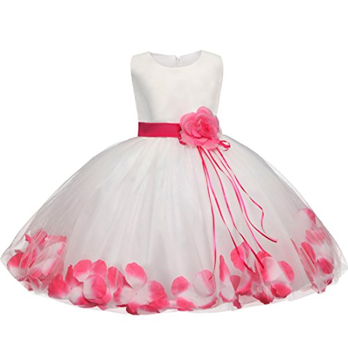 Price comparison product image ADHS Kids Baby Girl Wedding Dresses Flower Girls Special Occasion Dresses(White Rose,3-4Y)