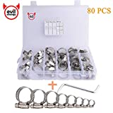 EVIL ENERGY 80 Pieces Adjustable Worm Gear Drive Hose Clamps Fuel Line Clips Assortment Kit 8-44MM 304 Stainless Steel with Wrench