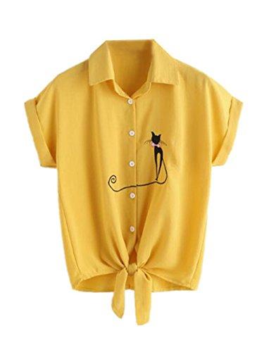 T Tkiemo Femmes Manches Blouses Revers t Top Chemises Shirt Chat Yellow lgant Chemise Brod Courtes Classique qqHgUv1w
