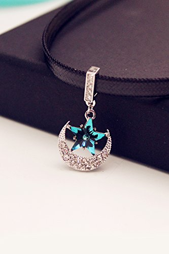 Moon Appliances Blue (Generic fashion jewelry _Korean_until stars_and moon_and blue_Crystal_ necklace pendant _collarbone_ chain necklace pendant women girls short _paragraph_leather)