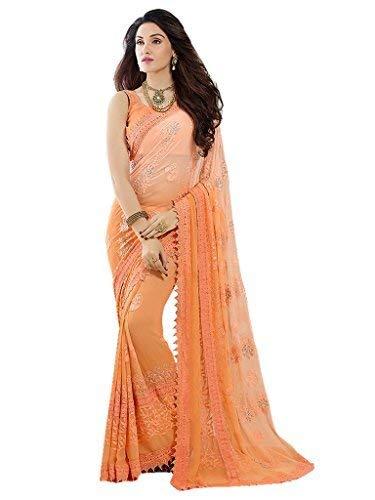 - Online Fayda Women's Embroidered Chiffon & Nazneen Saree (Orange)