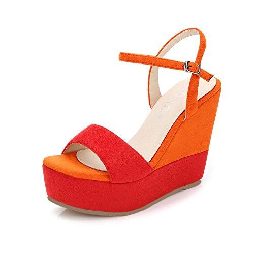 323 Sandalias Tobillo Correas Mujer y 12cm Verano de Chanclas XXYY Color de Cuña Sandalias Orange Costura KJJDE 7YCqP