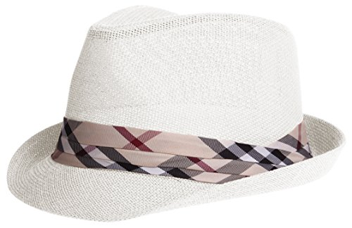Classic Fedora Straw (Enimay Vintage Unisex Fedora Hat Classic Timeless Light Weight 2116 - White S/m)