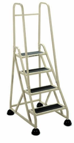 Cramer 1043-19 Stop-Step Ladder 4 Steps with Double Handrail 36-inch High Top Step, Beige - Double Handrail