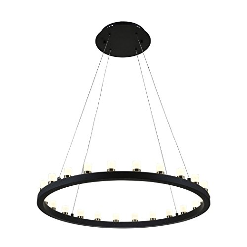 Round Modern Chandelier (mirrea 50W Modern Dimmable LED Chandelier Pendant Light Warm White Round Shape Matte Steel Black Painted)