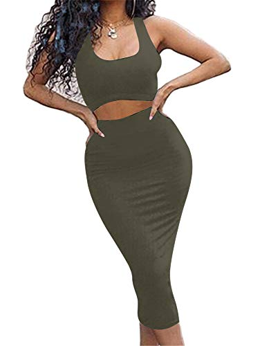GOBLES Women's Sexy Summer Outfits Bodycon Tank Top Midi Skirt 2 Piece Dress Olive