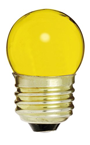 Satco 7 1/2S11/Y Incandescent Indicator & Sign, 7.5W E26 S11, Ceramic Yellow Bulb [Pack of 12]