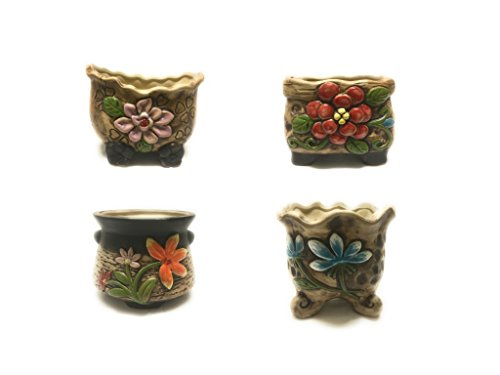MZ Gardens Decorative Ceramic Succulent /Flower Pots Planters Containers 4 in 1 Set with BONUS Gift