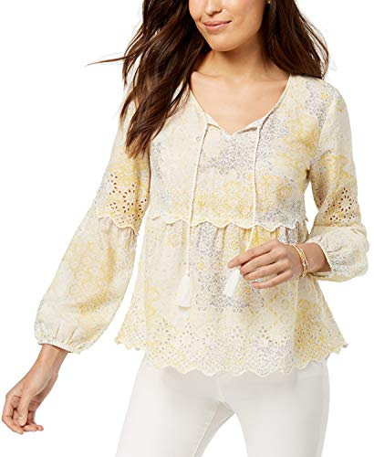 Style & Co. Petite Printed Eyelet-Trim Peasant Top (Subtle Yellow, ()