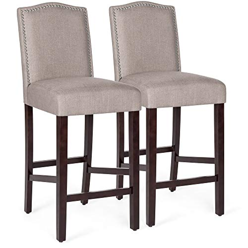 Best Choice Products Set of 2 30in Upholstered Linen Counter Height Armless Bar Stool Chairs w/Studded Trim Back ()