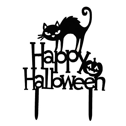 BCP Acrylic Plastic Happy Halloween Black Cat Cake Topper Decoration (Happy Halloween Black Cat)