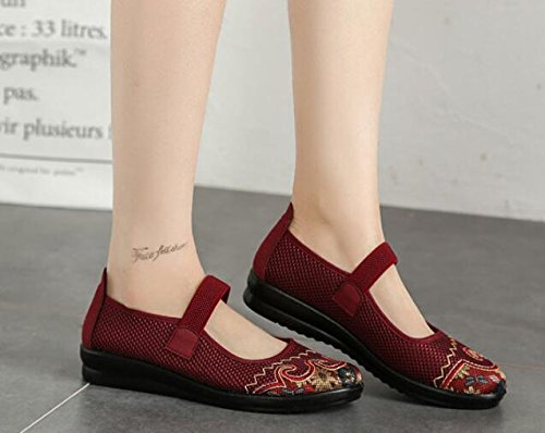 Breathable Summer Womens Mary Shoes Mesh Band with missfiona Elastic Flat Red Jane qE7Ux5Owdw