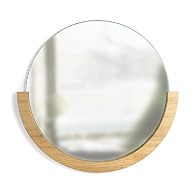 Umbra Mira Wall Mirror, Decorative Mirror for Entryway, Circular Mirror with Wood Frame on the Bottom Half, Natural Finish - Imported WORKS WELL IN MANY DIFFERENT SPACES: This mirror works well with a variety of different decors, with its wood frame adding a warmth and its semi-circle shape delivering the unexpected; looks great in an entryway, bedroom, living room or powder room TRICKS THE EYE: This mirror can help a room appear larger, by helping light bounce around, making a space seem bigger and airier - bathroom-mirrors, bathroom-accessories, bathroom - 41mvRqWopHL. SS400  -