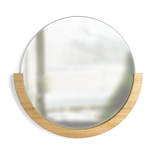 Umbra Mira Wall Mirror, Decorative Mirror for Entryway, Circular Mirror with Wood Frame on the Bottom Half, Natural Finish (Mirrors Circular Large Wall)
