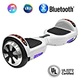 NHT 6.5'' Hoverboard Electric Self Balancing Scooter Sidelights - UL2272 Certified Black, Blue, Pink, Red, White (102 White)