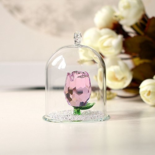 H&D Crystal Enchanted Rose Flower Figurine Dreams Ornament in a Glass Dome Gifts for her (Pink)
