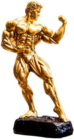 トロフィー フィットネスコンテストトロフィー ボクシングコンテストトロフィー ボディービルコンテストトロフィー ヘラクレス彫刻トロフィー ジム装飾オーナメント賞品 (Color : Gold, Size : 40*21*13.5cm)