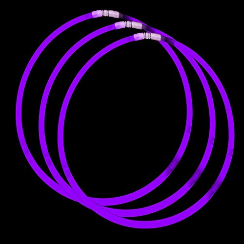 Fun Central (J0, 2 Pack of 50ct, 22 Inch Purple Glow Necklaces, Glow in The Dark Necklace, Glowing Necklace, Glow Stick Necklace, Light Up Necklace, Bar Easter Carnival New Year Light Necklaces