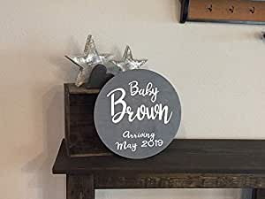 """Wooden Round Baby Boy Girl Name Announcement Sign - 12"""" Circle - Nursery Birth Announcement Rustic Farmhouse (Item - KN100)"""