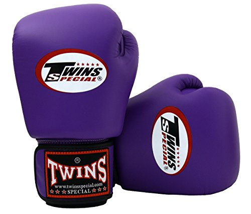 Twins Special Boxing Gloves BGVL3 Purple Size 8 10 12 14 16 oz Universal All Purposes Training Sparring Gloves for Muay Thai Kick Boxing MMA K1 Tight Fit Design with vectro straps (Purple