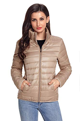 Adelina Down Jacket Ladies Long Sleeve Collar Slim Stand Mode Fit Quilted Jacket Winter Fashion Elegant Lightweight Packable Down Coat Outwear Solid Color Aprikose