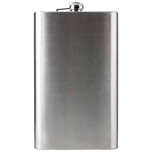 Maxam Jumbo Stainless Steel Flask, Dishwasher Safe Extra Large Drinking Flask, Polished Silver, 64 Ounce Capacity (KTFLASK64)
