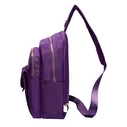 Capacité Étanche Femmes Bag Extérieur Grande Nylon Coffre Sac Crossbody TENGGO Violet Blanc SXwxTaq