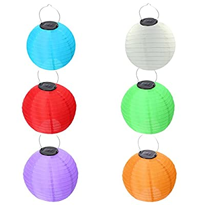 "HKBAYI Pack of 6 10"" 25cm Solar Powered LED Light Chinese Nylon Fabric Lantern Lamp Lighting for Garden Outdoors more color choice - no Batteries or Plug Needed"