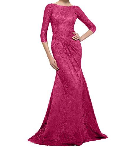 Meerjungfrau Damen Charmant Brautmutterkleider Langes Pink mit Abendkleider Spitze Ballkleider Partykleider Langarm wSxFBC6q